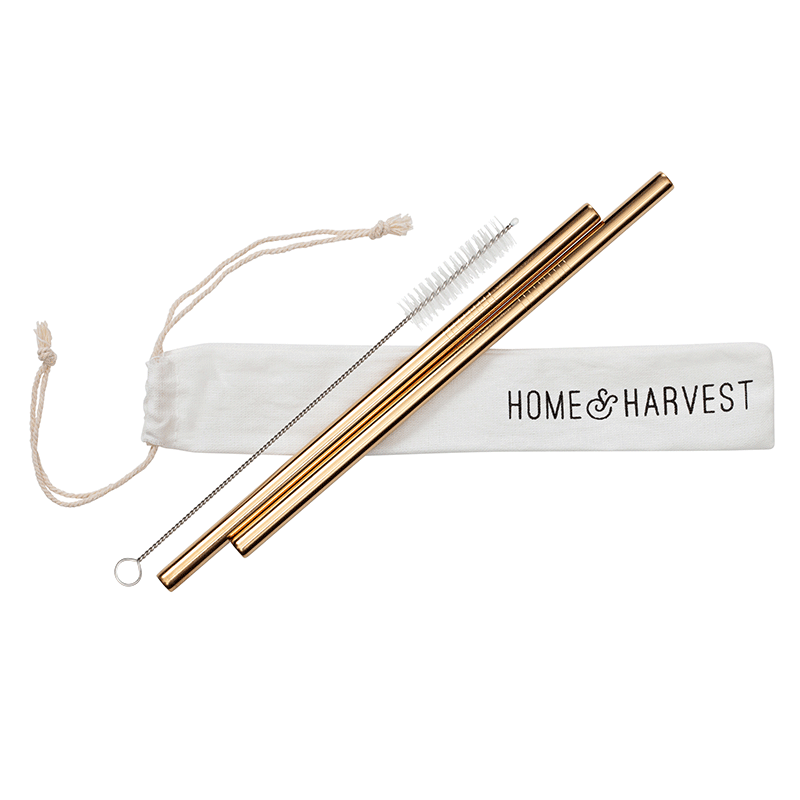 Reusable Straws 2 Pack in Gold + Cleaner & Tote