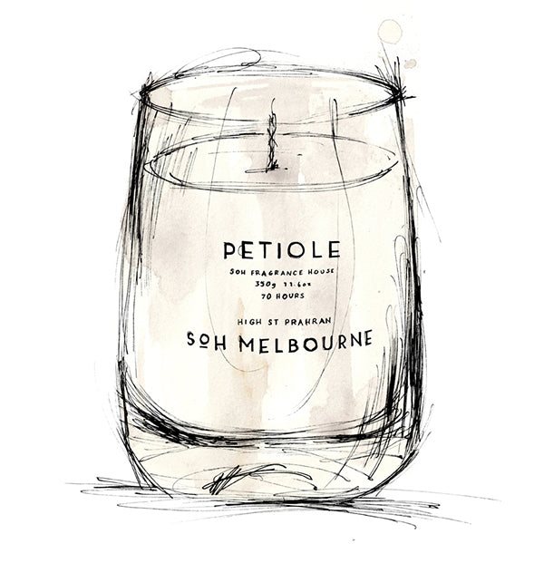 Petiole White Matte Glass Candle