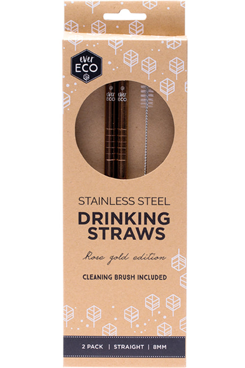 Stainless Steel Straws in Rose Gold -  Straight 2 Pack + cleaning brush