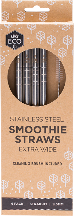 Stainless Steel Straight Smoothie Straws - 4pk