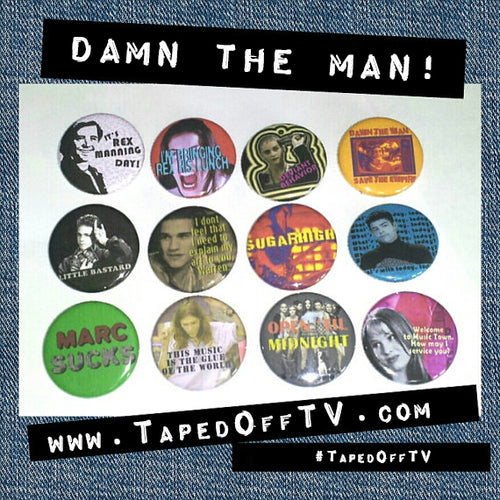 Empire Records inspired Rex Manning Day pin set by Taped Off TV Damn the Man! Save the Empire! buttons badges