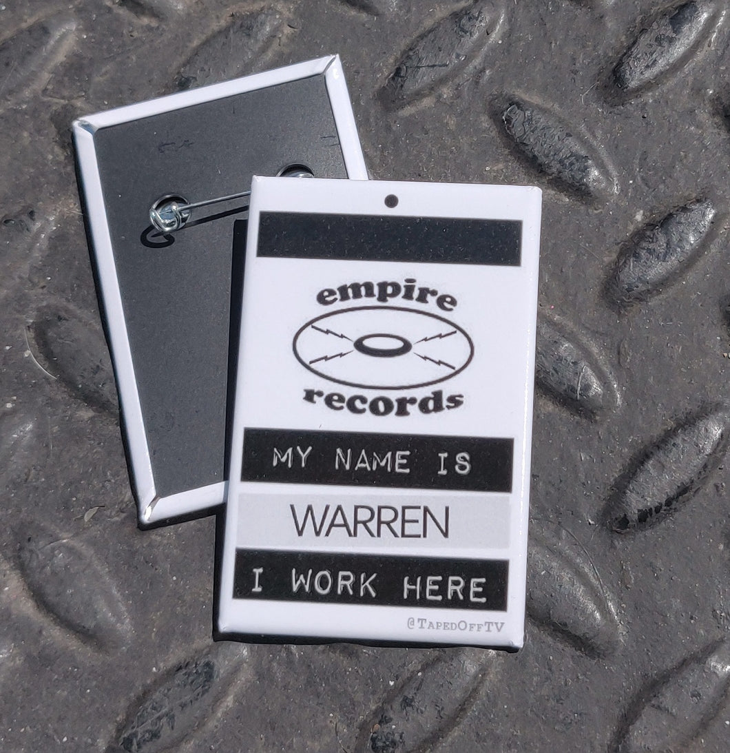 Warren name tag pin