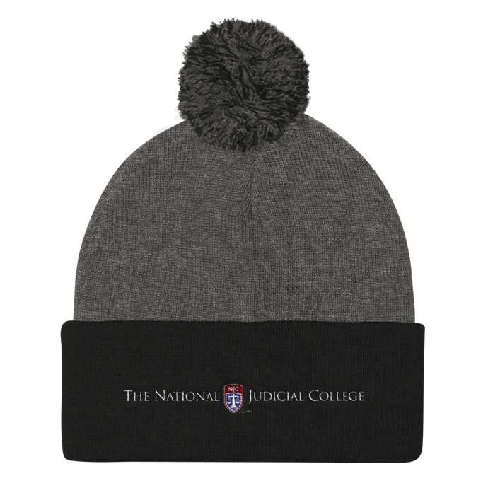 NJC Embroidered Pom Pom Knit Beanie