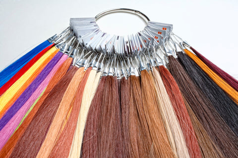 color ring with different colored hair extension strands