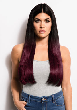 "18"" Kera-Link Straight - Ombre 1B/Burgundy - Donna Bella Hair"