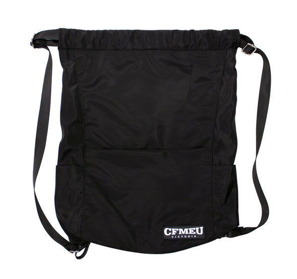 Drawstring Bag Black - Premium with PVC badge