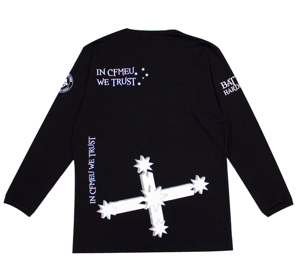 CFMEU Doesn't Forgive Long Sleeve Crew Cotton Tee - Black