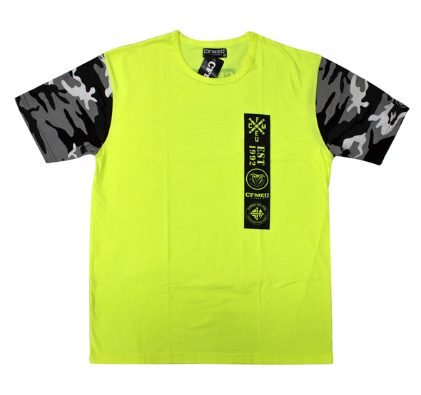 M Patch  Camo Tee - HV Yellow