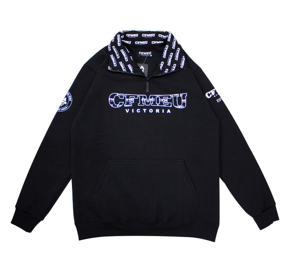 CFMEU Pattern 1/4 Zip - Black