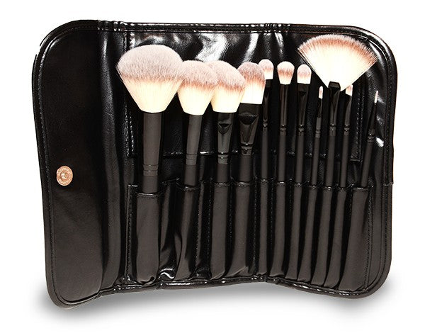 Synthetic Makeup Brush Set with Pouch 11 Piece