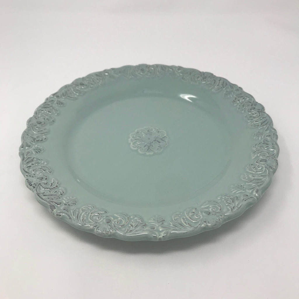 Teal Lunch Plate with Floral Textured Rim & Center
