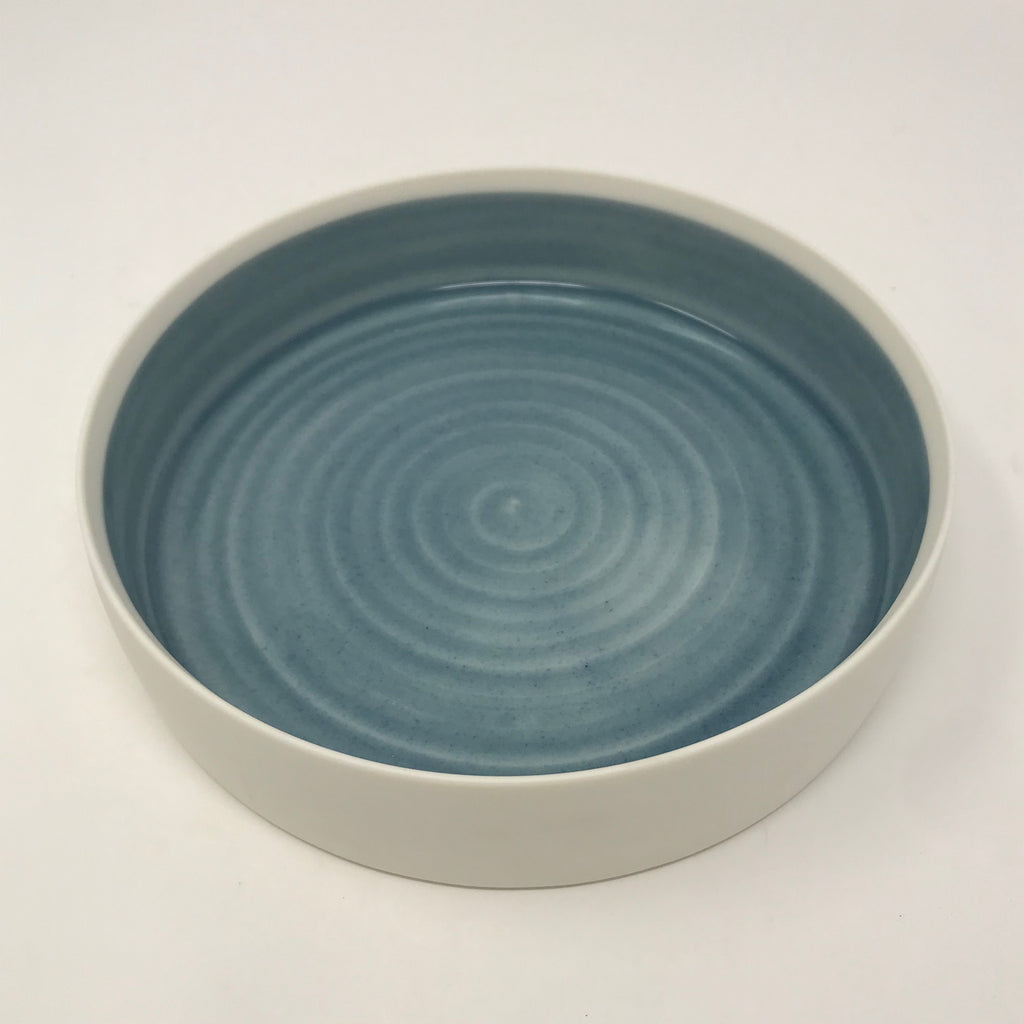 Medium Handmade Blue Color Block Dish with Flat Sides (4/5)