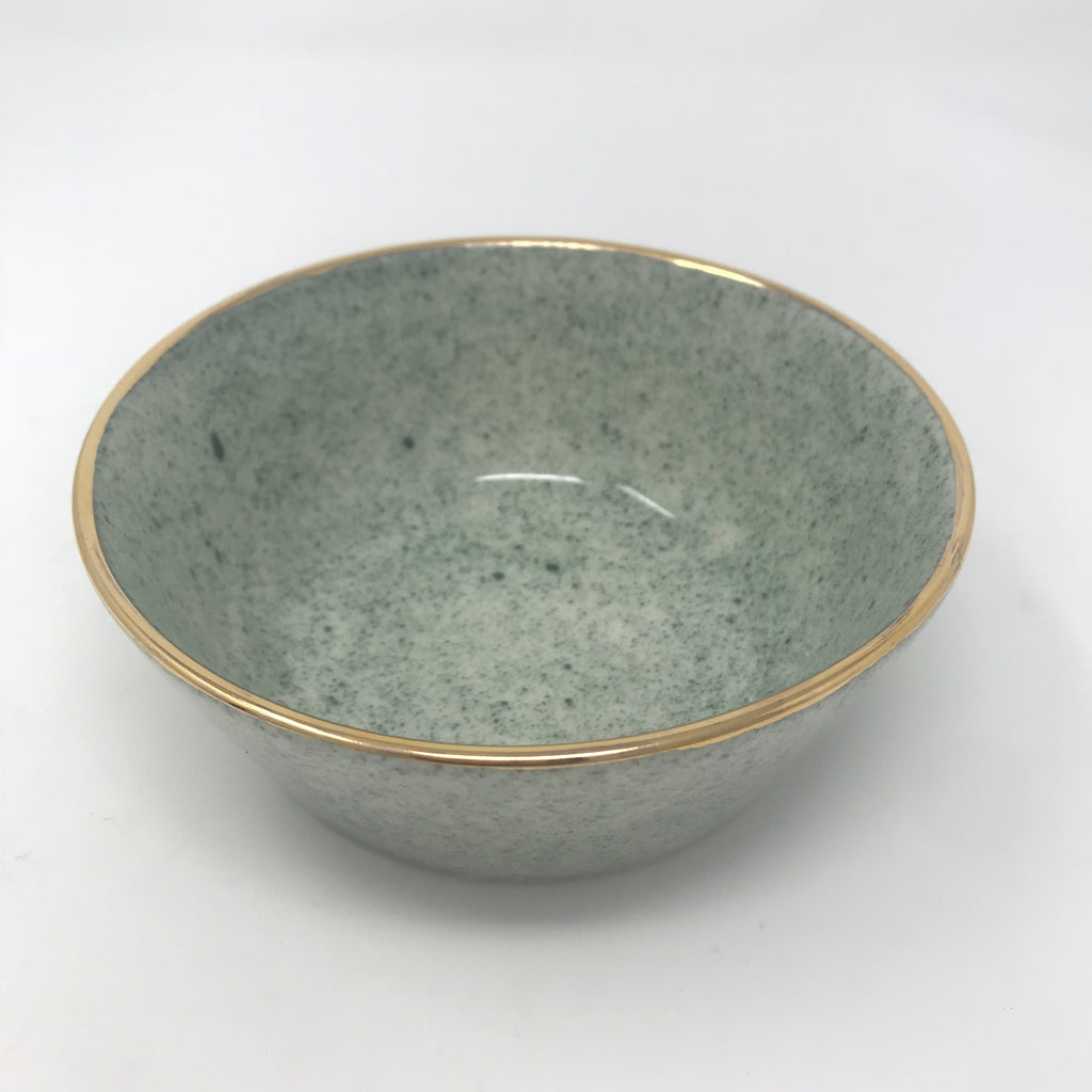 Speckled Green Bowl with Gold Rim