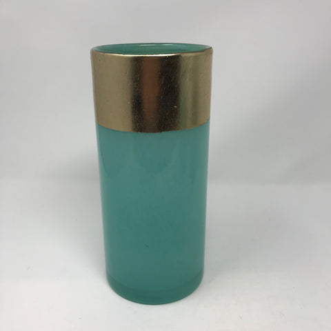 Frosted seafoam vase with wide gold band on rim