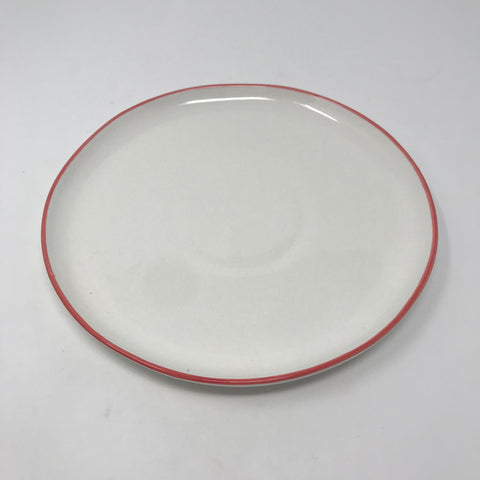 Cream Salad Plate with Red/Pink Rim