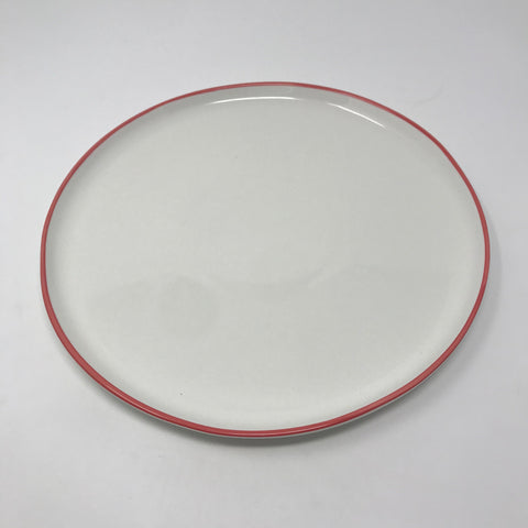 Cream Dinner Plate with Red/Pink Rim