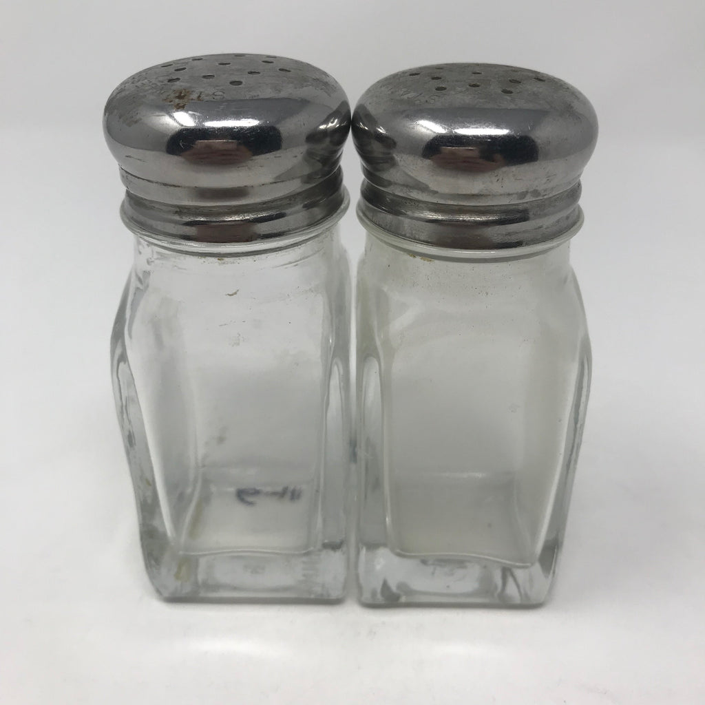 SET: Classic Diner Glass Salt and Pepper Shakers