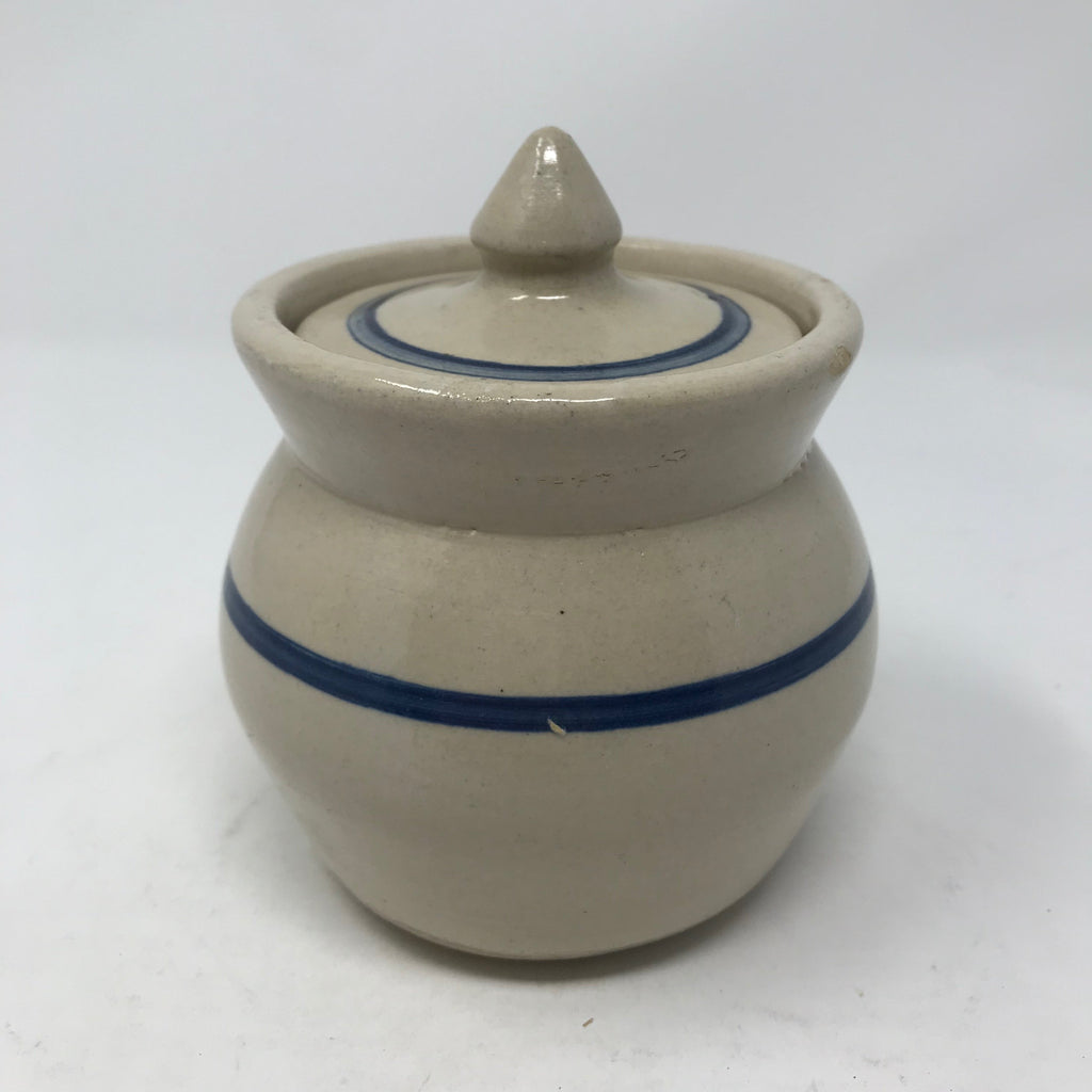 Vintage Crock with Lid and Blue Line Pattern
