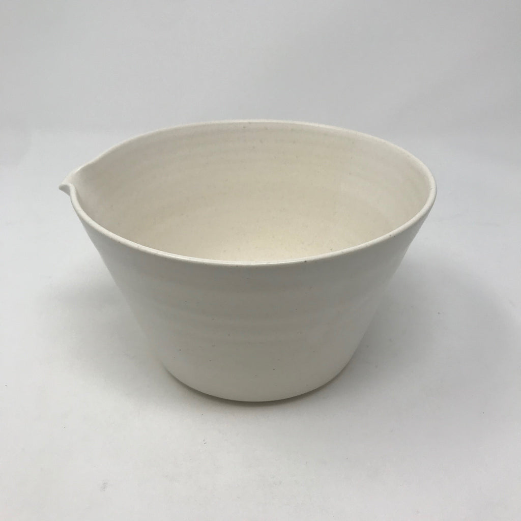 Handmade Mixing Bowl with Spout & Faint Line Detail (Smallest of 4)