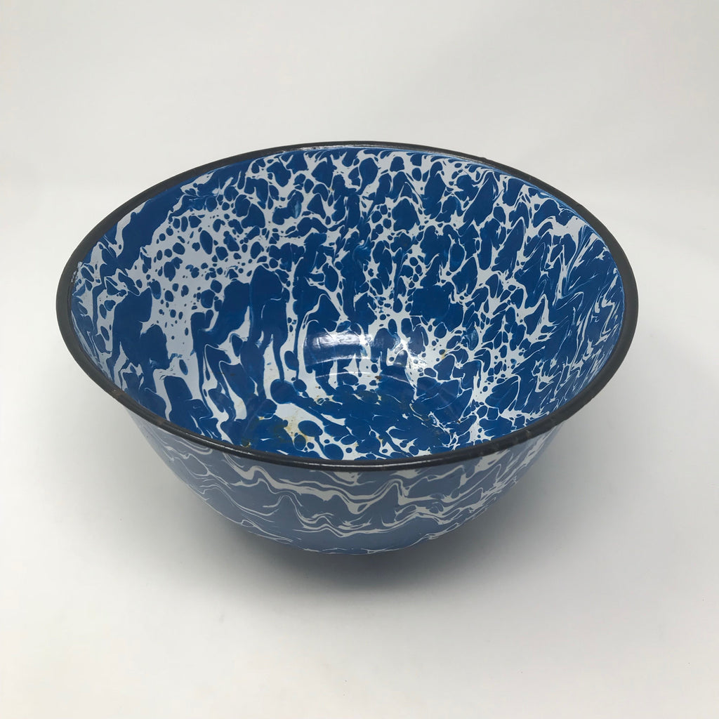 Metal/Enamel Mixing Bowl with Blue & White Marble Pattern