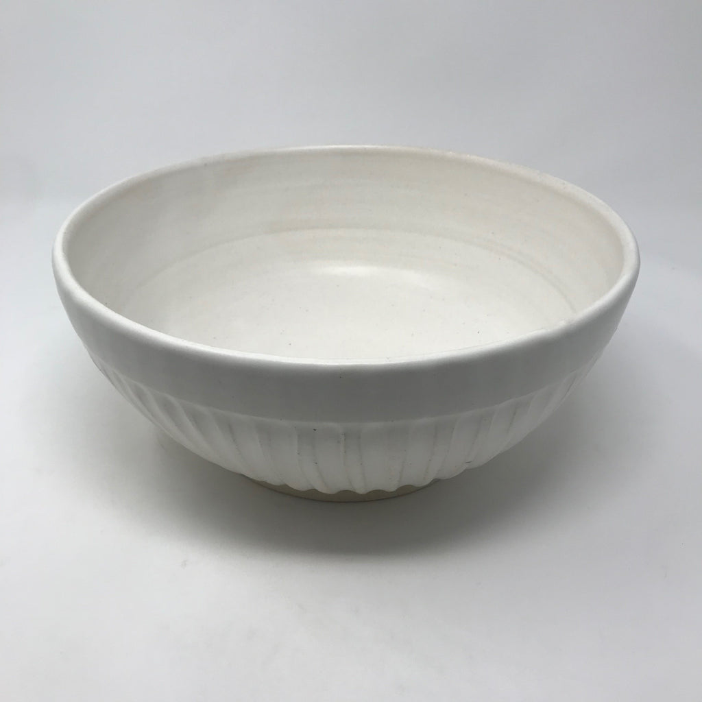 Handmade Cream Serving Bowl with Ridges