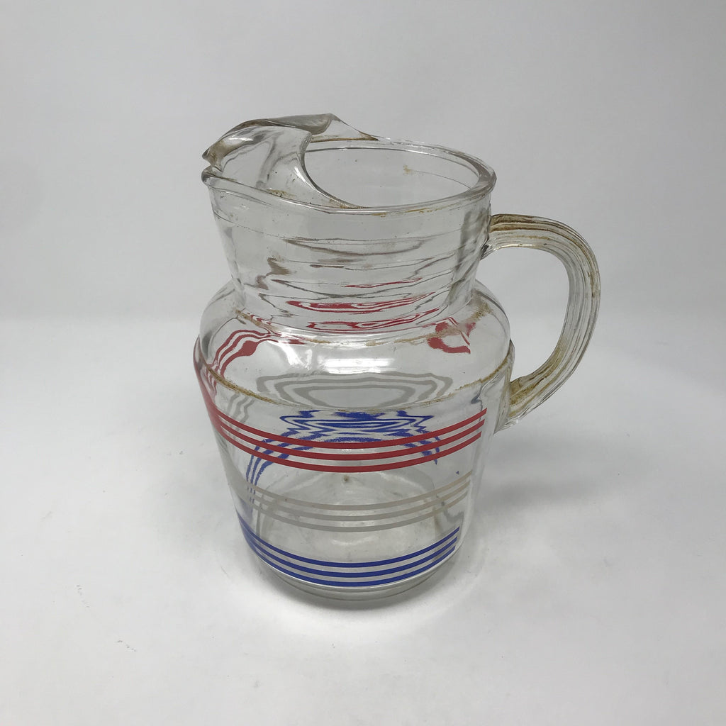 Red, White and Blue Glass Pitcher