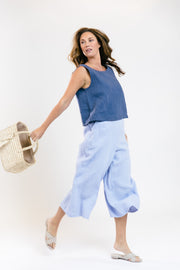 Olas Cropped Linen Tank - Catalina Blue