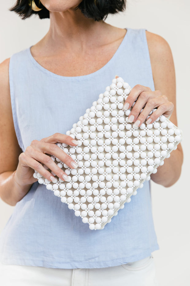 Portofino Beaded Clutch - White