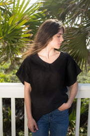Just Right Linen Tunic - Black