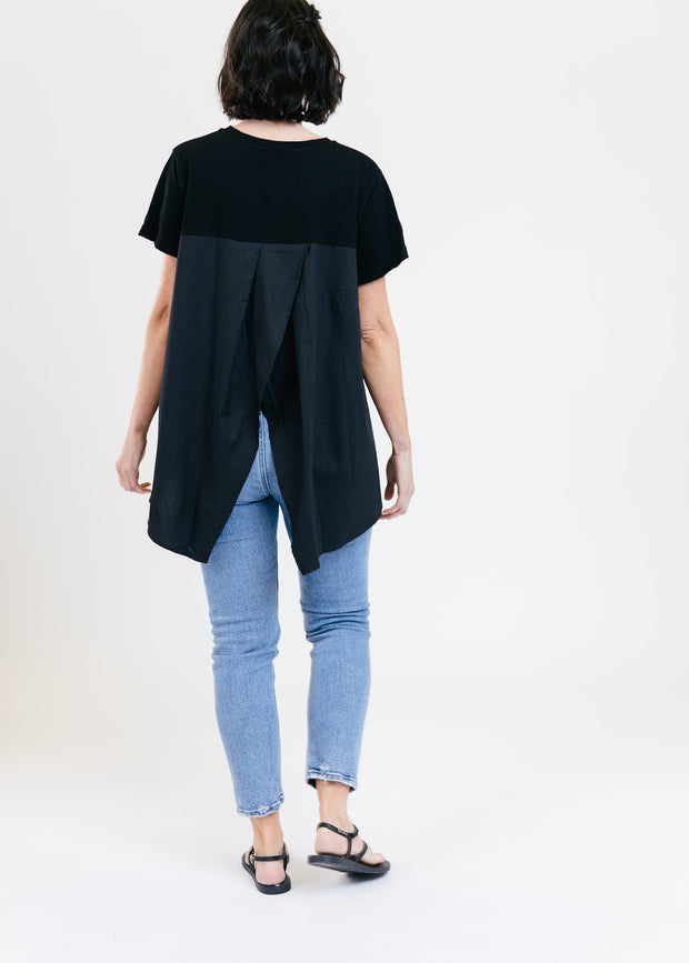 Cotton & Poplin Neat Tee - Black