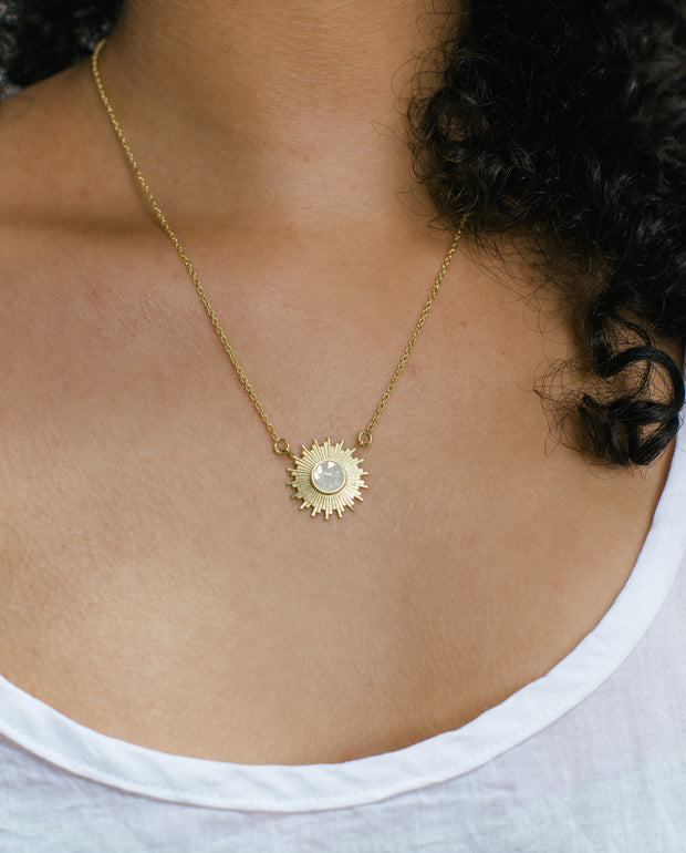 Crushed Diamond Sun Necklace