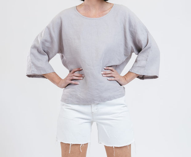 Drift Linen Top - Buff