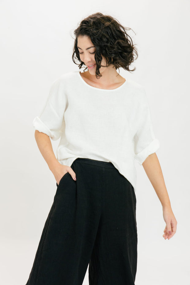 Drift Linen Top - Ivory
