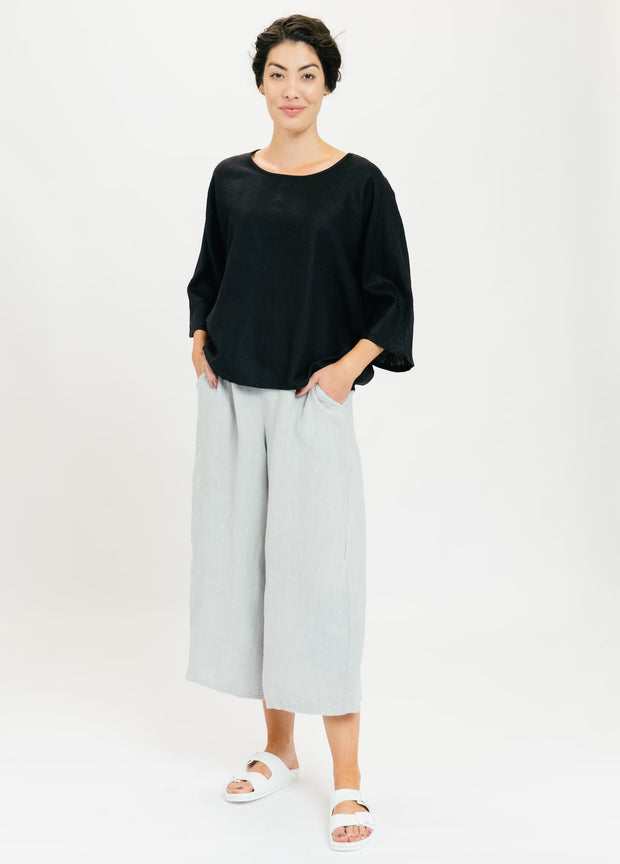Drift Linen Top - Black
