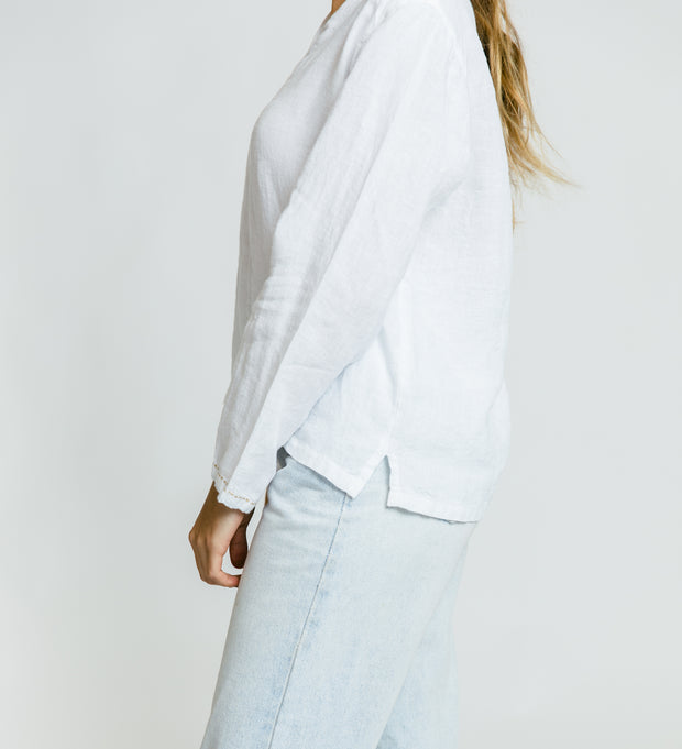 French Knot Linen Top