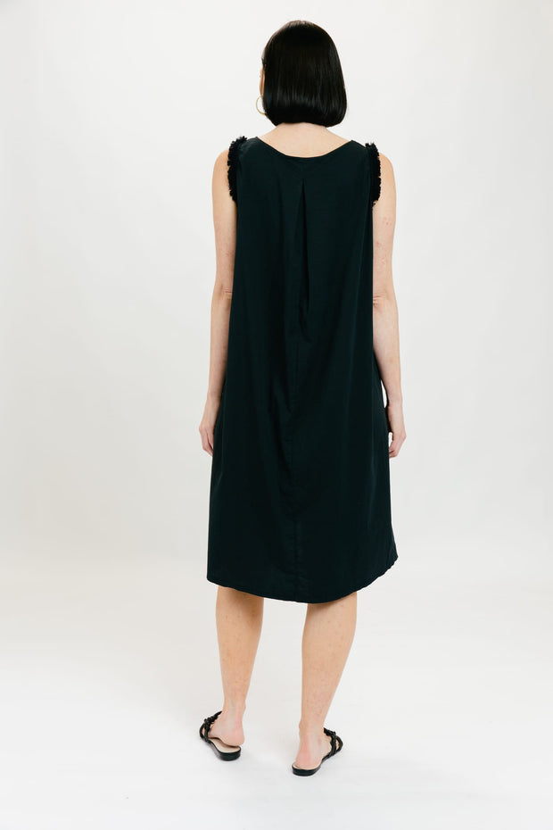 Fringe Popover Dress - Black