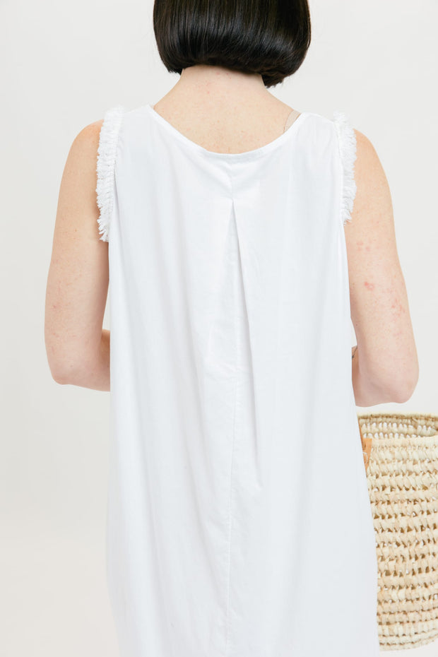 Fringe Popover Dress - White