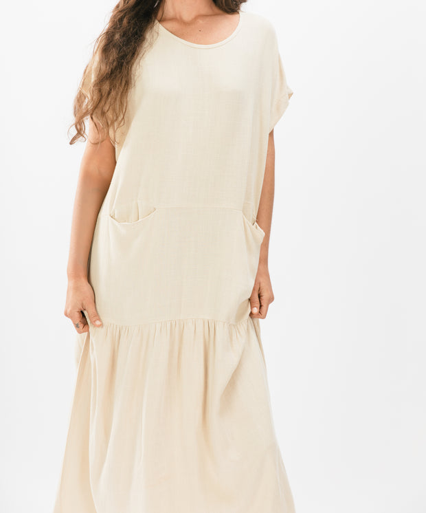 Front Pocket Column Dress, Bone