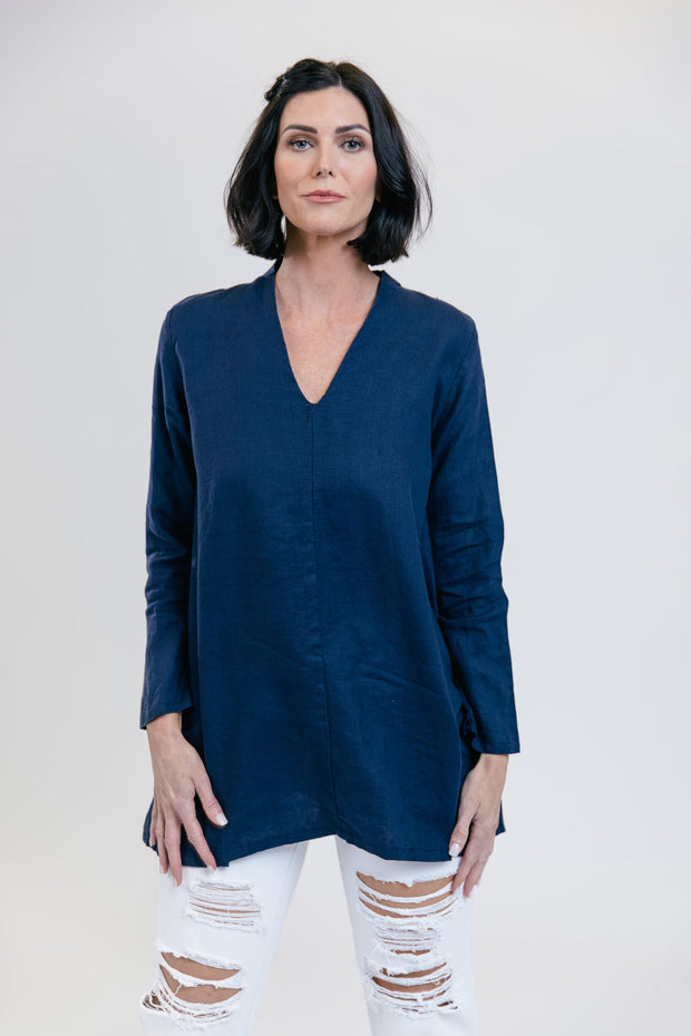 Horizon Linen Tunic - Sea Blue