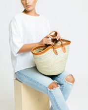 Leather Rimmed Tote