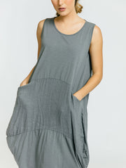 Linen & Cotton Day Dress - Slate Grey