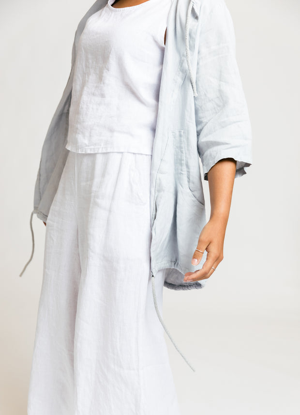 Linen Drawstring Jacket - Grey
