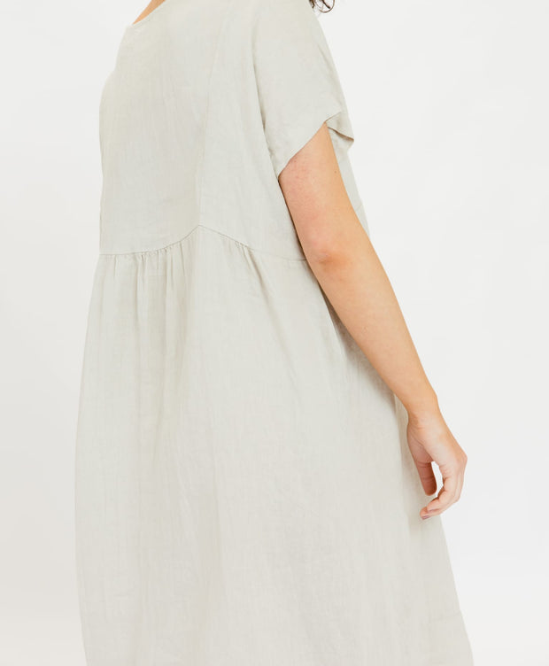 Linen Sativa Shift Dress - Tan