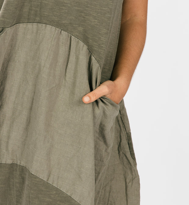 Linen & Cotton Day Dress - Olive