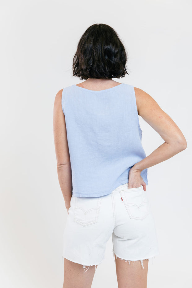 Olas Cropped Linen Tank - Light Blue