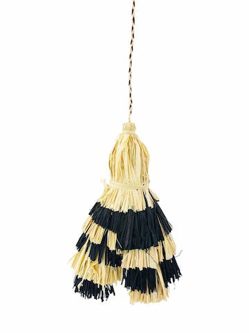 Raffia Bag Tassel - Black & Natural