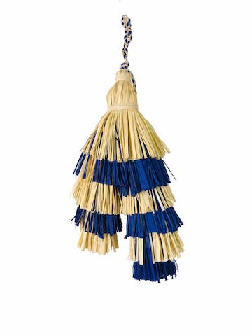 Raffia Bag Tassel - Blue & Natural