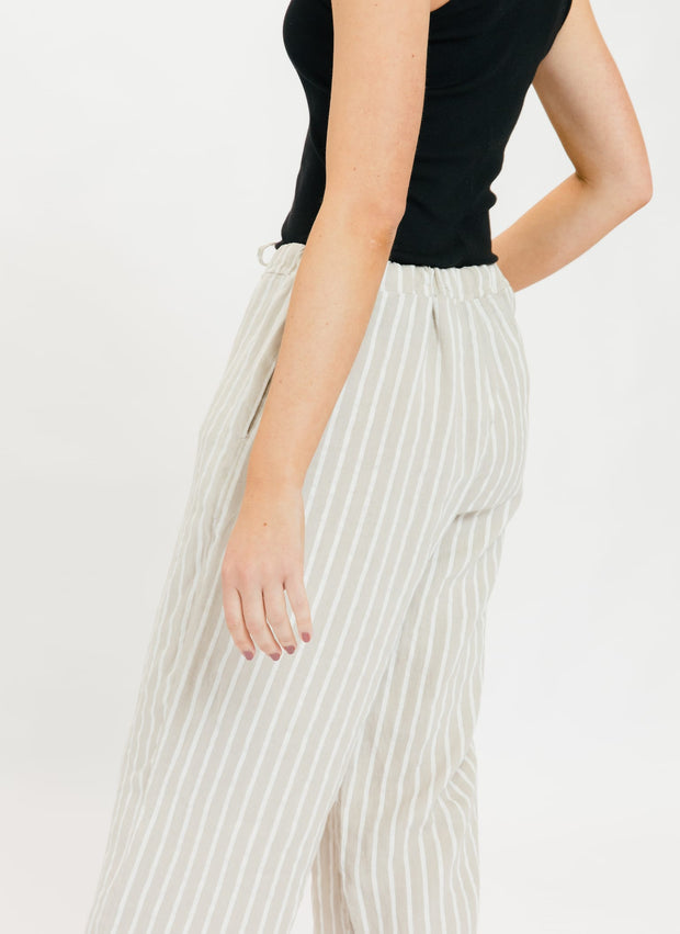 Regatta Stripe Drawstring Pant - Tan