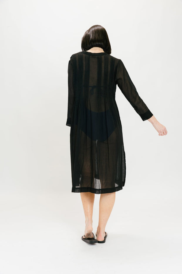 Sheer Button Dress - Black