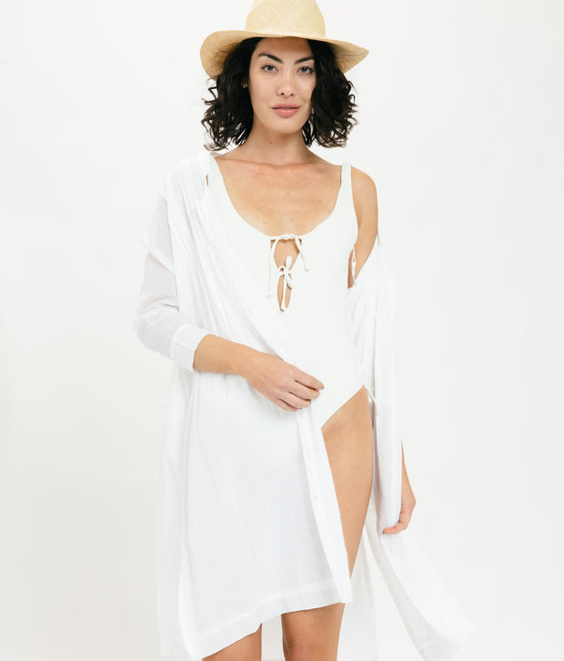 Sheer Button Dress - White